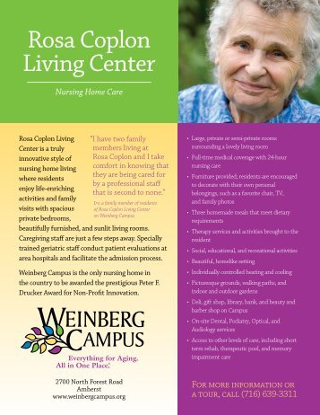 Rosa Coplon Living Center - Weinberg Campus