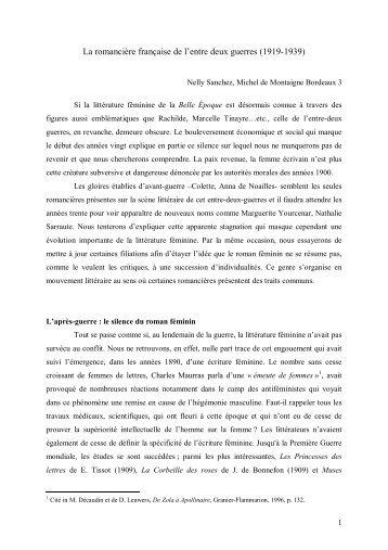 La romancière française de l'entre deux guerres (1919-1939)
