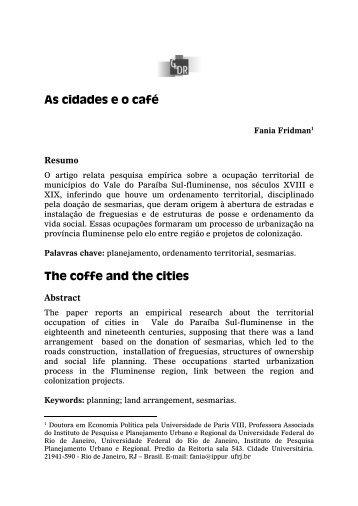 As cidades eo café - Revista Brasileira de Gestão e ...