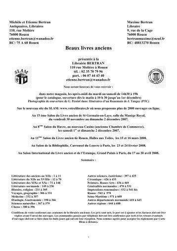 Catalogue octobre 2007 - Librairie Bertran