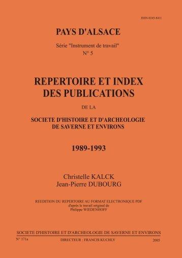 REPERTOIRE ET INDEX DES PUBLICATIONS - société d'histoire et ...