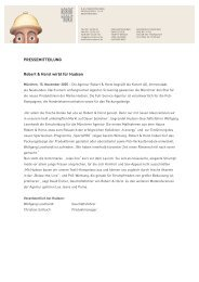 PRESSEMITTEILUNG Robert & Horst wirbt für Hudson