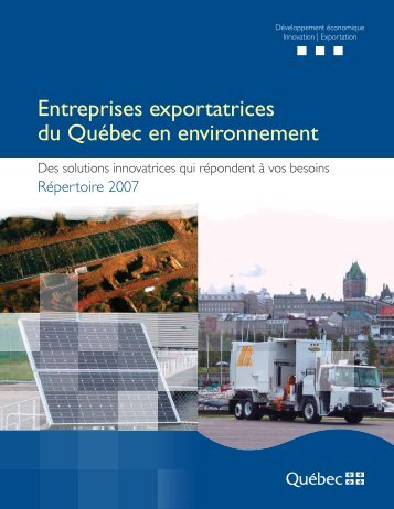Entreprises exportatrices du Québec en environnement - Bibliothèque