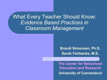 Evidence Based Practices in Classroom Management - APBS
