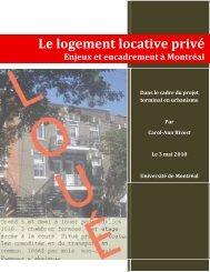 Le logement locative privé - Université de Montréal