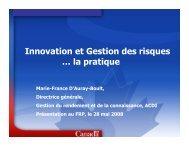 Innovation et Gestion des risques … la pratique - PPX