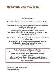 Zu unserer Speisekarte (PDF) - Ristorante San Valentino