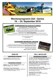 Wochenprogramm Zell - Gerlos 18. – 24. September ... - Zillertal Arena
