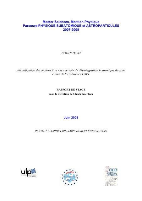 Exemple Page De Garde Du Rapport Dea 93 94 Institut