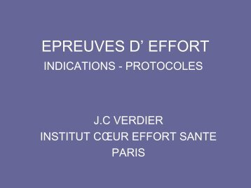 EPREUVES D' EFFORT INDICATIONS - PROTOCOLES