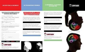 Dépliant (y compris un formulaire de don) - Fondation NeuroTrauma ...