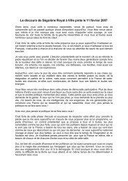 Le discours complet de Villepinte de Ségolène Royal - Ps65.fr