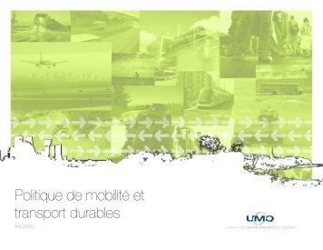 Politique de mobilité et transport durables - Union des municipalités ...