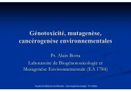 Génotoxicité, mutagenèse, cancérogenèse environnementales