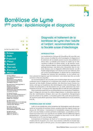 Borréliose de Lyme - Swiss Society for Infectious Diseases