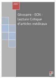 Glossaire - ECN : Lecture Critique d'articles médicaux - CNCI
