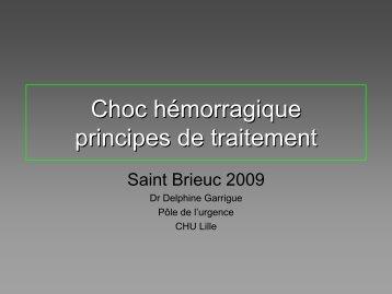 Choc hémorragique principes de traitement - Urgences-Bretagne