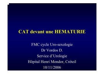 CAT devant une hématurie - Service d'Urologie CHU Henri Mondor
