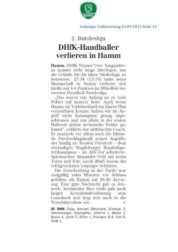 Leipziger Handballer empfangen SG BBM ... - SC DHfK Handball
