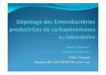 Dépistage des souches au laboratoire, quand ... - CHU Besançon