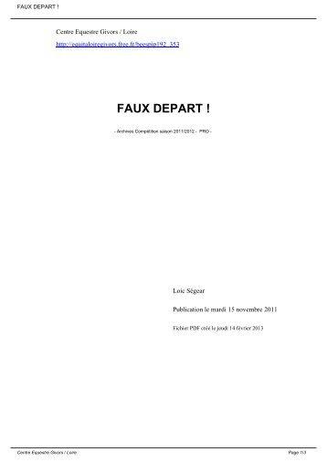 FAUX DEPART ! - Equita loire givors - Free