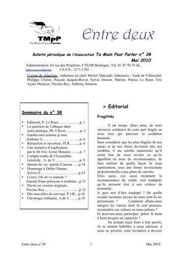 Téléchargez Entre-Deux n°38 - Ta Main Pour Parler (TMPP)