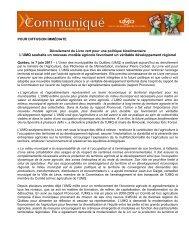 Dévoilement du Livre vert pour une politique bioalimentaire