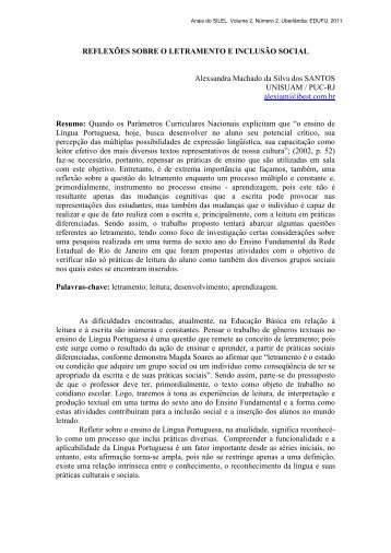 REFLEXÕES SOBRE O LETRAMENTO E INCLUSÃO SOCIAL ...