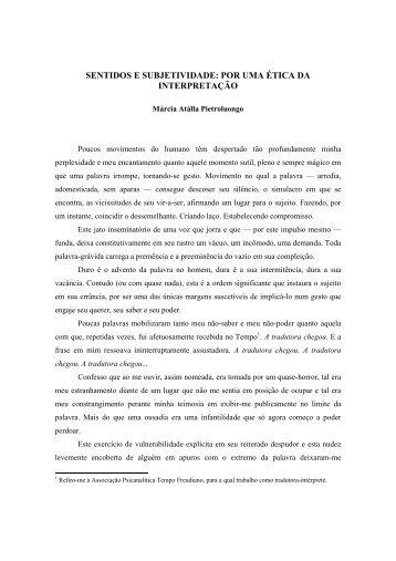 SENTIDOS E SUBJETIVIDADE: POR UMA ÉTICA DA ... - Letras Libras