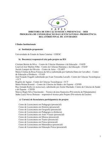 Relatório final procedência - Udesc