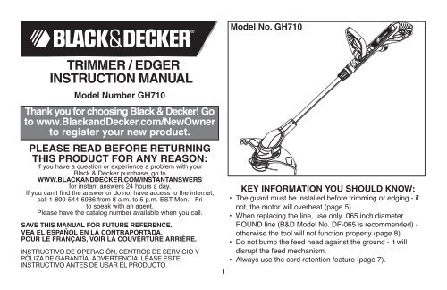 chainsaw booklet new - Black & Decker ServiceNet