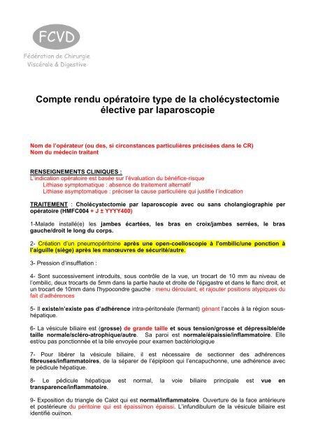 Compte rendu opératoire type de la cholécystectomie élective par ...