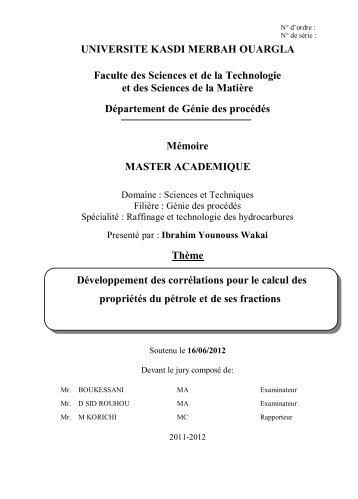 UNIVERSITE KASDI MERBAH OUARGLA Faculte des Sciences et ...