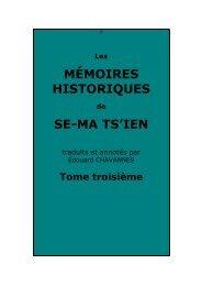 Mémoires historiques, tome troisième - Chine ancienne