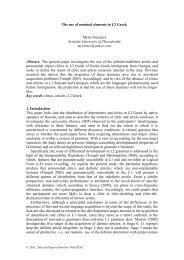 The use of nominal elements in L2 Greek Myrto Nerantzi Aristotle ...