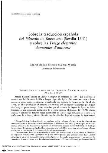 Sobre la traducción española del «Filocolo» de Boccaccio (Sevilla ...