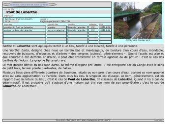 Pont de Labarthe - Soustons : lieux-dits et noms de lieux