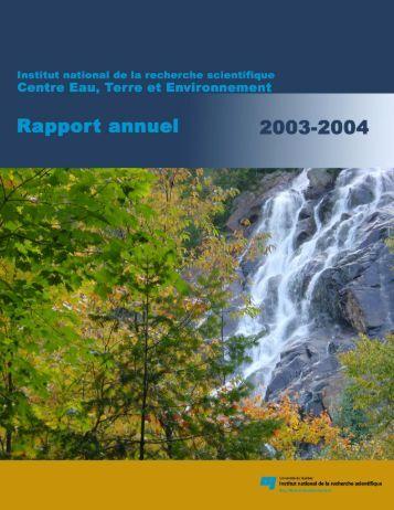 2003-2004 - Centre - Eau Terre Environnement - INRS