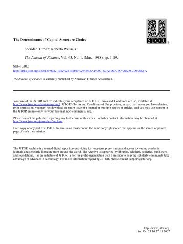 The Determinants of Capital Structure Choice Sheridan Titman ...