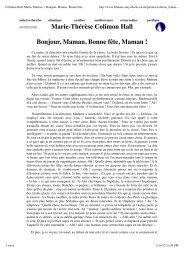 Colimon Hall, Marie-Thérèse, « Bonjour, Maman, Bonne fête ...
