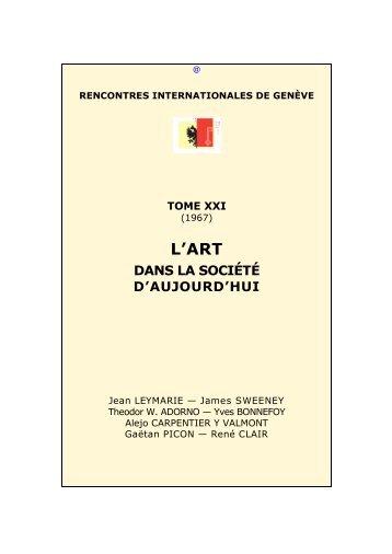 L'art dans la société d'aujourd'hui - Rencontres Internationales de ...