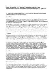 Prise de position de la Société d'Ophtalmologie (SSO) sur l ...