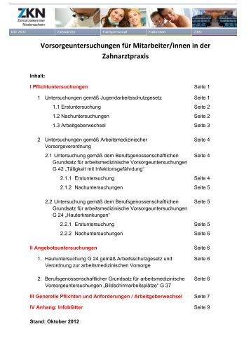 Infoblatt zur Arbeitsmedizinischen Vorsorge - Zahnärztekammer ...