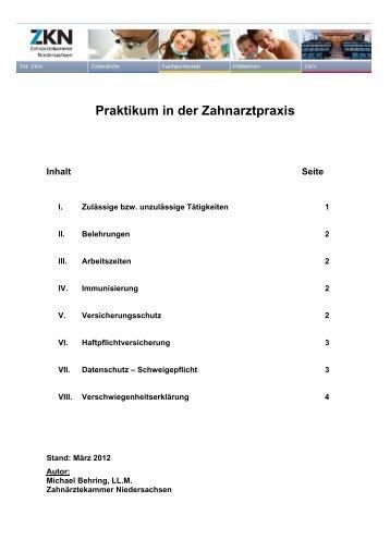 Praktikum in der Zahnarztpraxis - Zahnärztekammer Niedersachsen