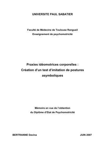 Praxies idéomotrices corporelles - Institut de Formation en ...