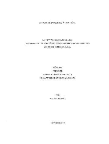Le travail social scolaire : regards sur les ... - Archipel - UQAM