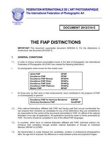 THE FIAP DISTINCTIONS - mafosz