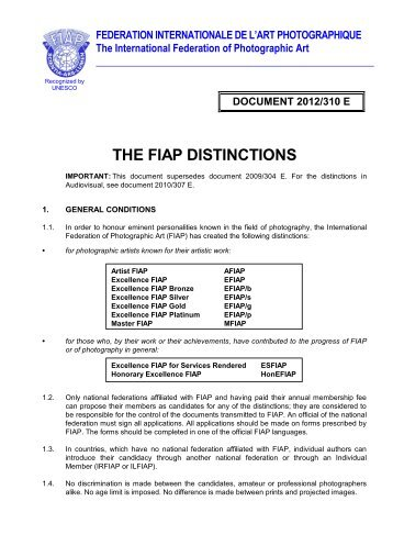 THE FIAP DISTINCTIONS - mafosz