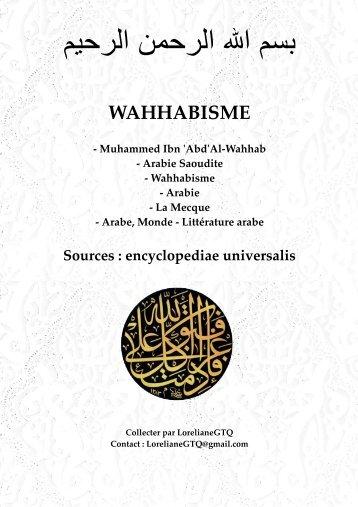 Le Wahhabisme, Mouhammed Ibn AbdelWahhab, Arabie Saoudite