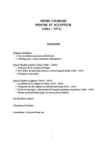 henri charlier peintre et sculpteur (1883 – 1975) - Vies et oeuvres d ...